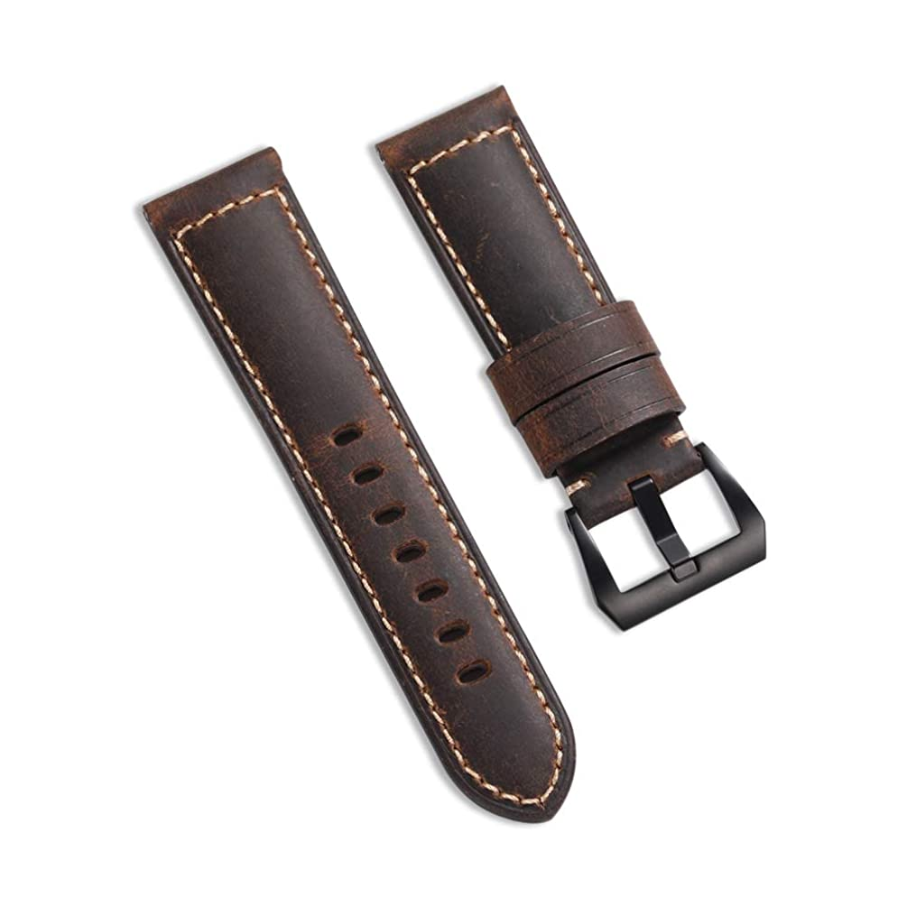 24mm Vintage Watch Band Watchbands Genuine Leather Strap Replacement Steel Pre-V Buckle Style Band-Black with Black Clasp