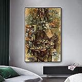 WKAQM Pablo Picasso Póster Mandolina Jugador Lienzo Pared Arte Resumen Póster Impresiones Vintage Pared Pintura Galería Sala Cuadro Pared Arte Decoración Sin Marco