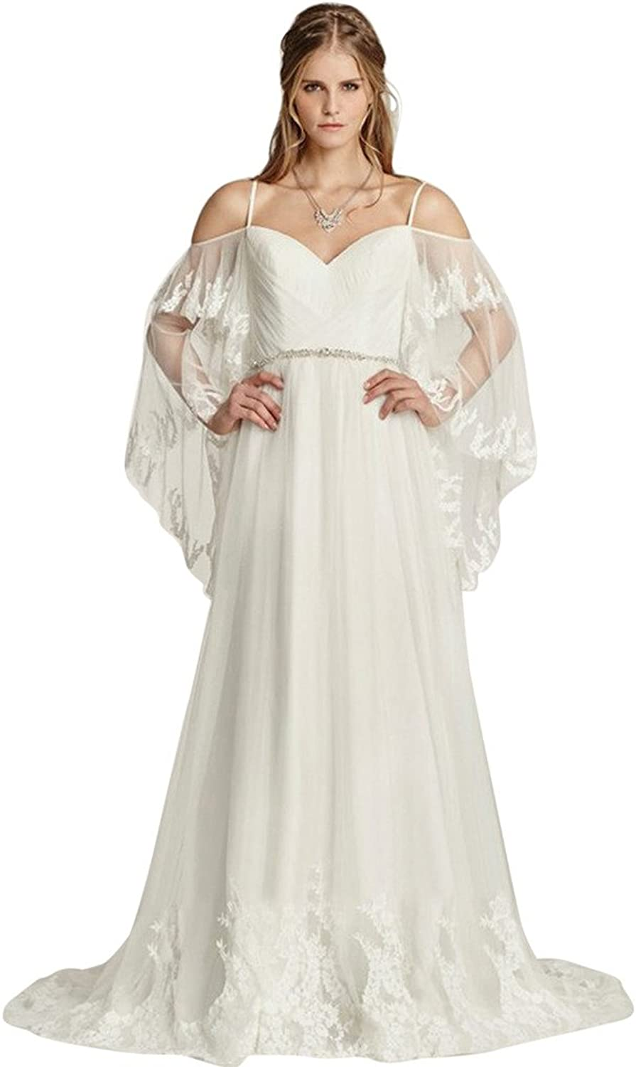 JoyVany Charming Batwing Sleeve Beach Wedding Dress Summer Sexy Lace Bride Gowns