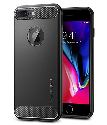 Spigen Rugged Armor iPhone 8 Plus/iPhone 7 Plus Case Resilient Shock Absorption Carbon Fiber Design for Apple iPhone 8 Plus (2017)/iPhone 7 Plus (2016) - Black