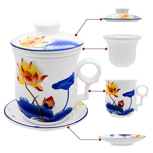 Hollihi Tasse à thé avec couvercle, soucoupe, filtre en porcelaine chinoise de Jingdezhen