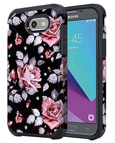 for Samsung Galaxy J3 Emerge / J3 Prime / J3 Mission / J3 Eclipse / J3 2017 / J3 Luna Pro/Sol 2 / Amp Prime 2 / Express Prime 2 Case, OEAGO Shockproof Armor Case Cover (Black Rose Flower)