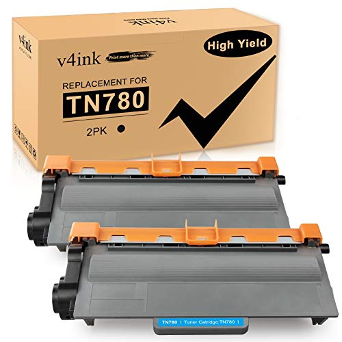 V4INK 2PK Compatible Toner Cartridge Replacement for Brother TN-780 TN780 TN 780 High Yield Toner Ink for use in Brother HL 6100 HL 6180DW HL 6180DWT MFC 8950DW MFC 8950DWT Printer, Black