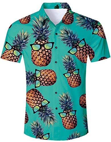 Men's Hawaiian Shirt Green Pineapple Glass Print Tropical Beach Aloha Shirt Casual Button Down Short Sleeve Dress Shirt