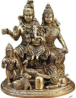 Indian royal art gallery Brass Shiva Parvati Shiv Parivar, Shankar Ganesh Family Brass Statue Home Decor (Molticolor Weigh...