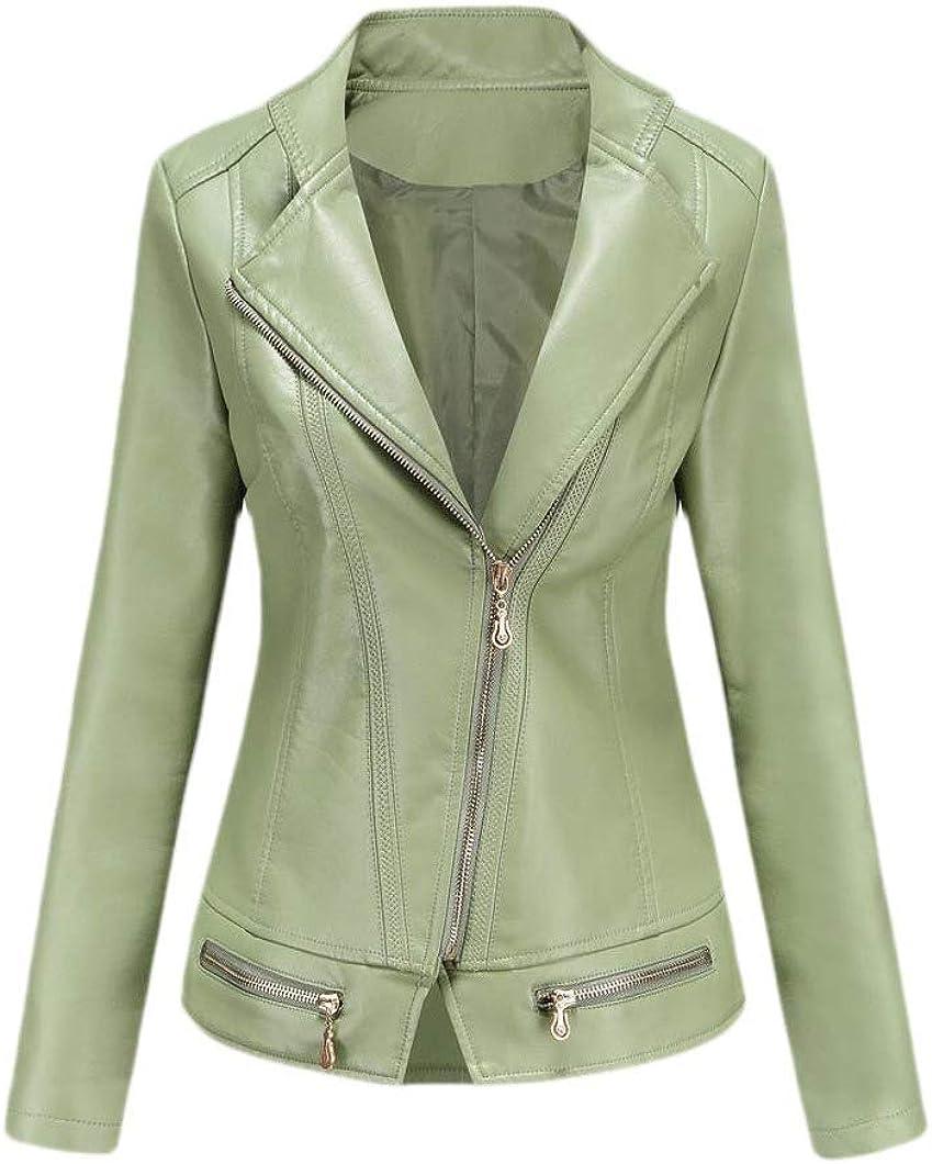 Women Slim Zip-Front Motorcycle Biker Fashion Short Pu Leather Jacket