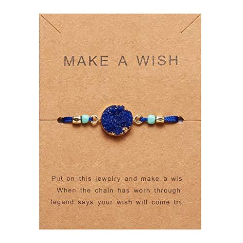 Jingmeizi Make a Wish - Pulsera de cuerda ajustable con piedra de resina