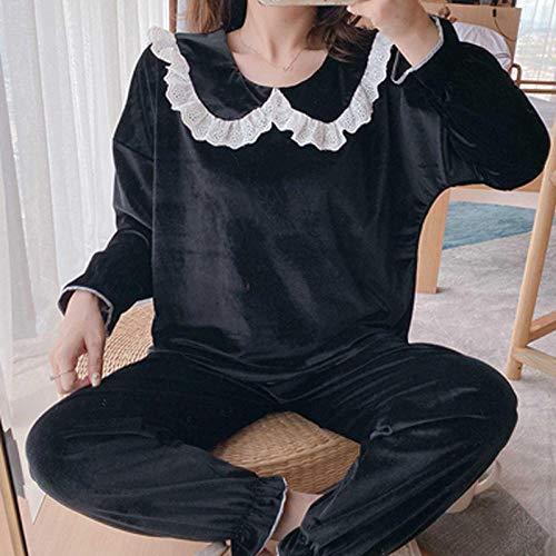 FSJE Pijamas para Mujer Pijamas Mujer otoño e Invierno Mujer Pijamas Pantalones de Manga Larga Pijamas de Dos Piezas Servicio a Domicilio de Encaje Sexy