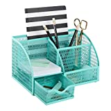 Blu Monaco Aqua Desk Organizer - Girly Cute Aqua Turquoise Desk Accessories - Storage for School Locker Bedroom or Home - Stationary Holder