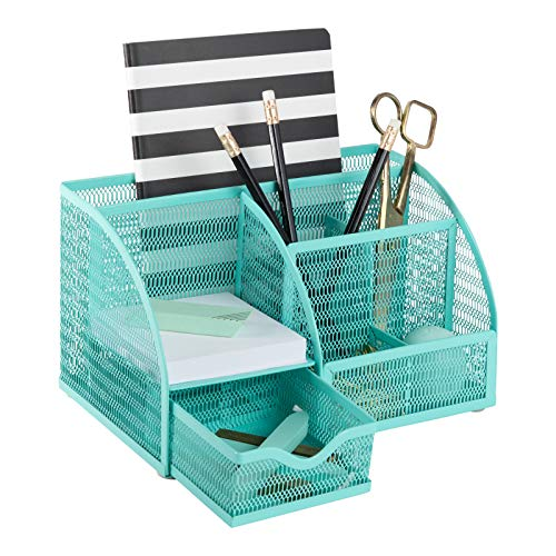 Blu Monaco Aqua Desk Organizer  Girly Cute Aqua Turquoise Desk Accessories  Storage for School Locker Bedroom or Home  Stationary Holder