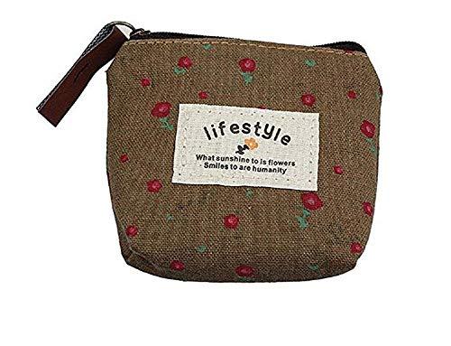JoyRolly 1 stücke Frauen Mini Nette leinwand geldbörse Zip Brieftasche Dame oder mädchen kleine Cartoon Tasche schlüsseletui für Kinder Klassische Neue (braun)
