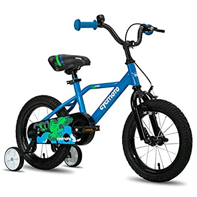 """cycmoto 16"""" Kids Bike with Hand Brake & Training Wheels for 4 5 6 Years Boys, Toddler Bicycle Blue"""