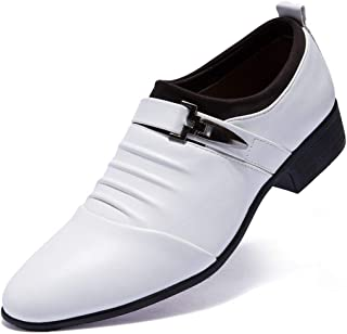 Loafers Oxford Men's Dress Shoes Buckled Formal Leather Shoes White & Black Wedding Shoes for Men