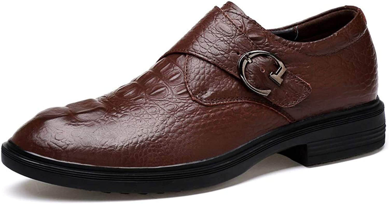 MUMUWU Men's Business Oxford Casual Fashion Antirust Metal Buckle Loop Strap Convenient Formal shoes (color   Brown, Size   9.5 D(M) US)