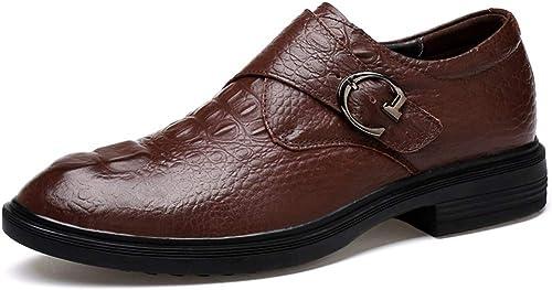 2019 Richelieus Homme, Cuir Oxford Chaussures Hommes Affaires Oxford Décontracté Mode Antirust Métal Boucle Sangle Boucle Pratique Chaussures Formelles (Couleur   Marron, Taille   40 EU)