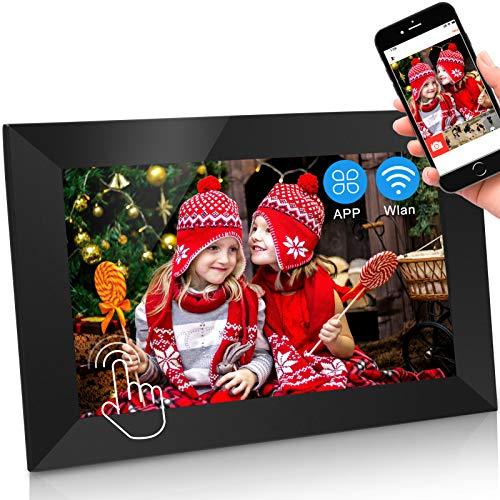 Jimwey Digitaler Bilderrahmen WLAN Elektronischer Fotorahmen WiFi mit 11 Zoll 1280P IPS Full HD Touchscreen 16GB Cloud Speicher Automatische Drehung, Foto Video über App aus Handy sofort teilen