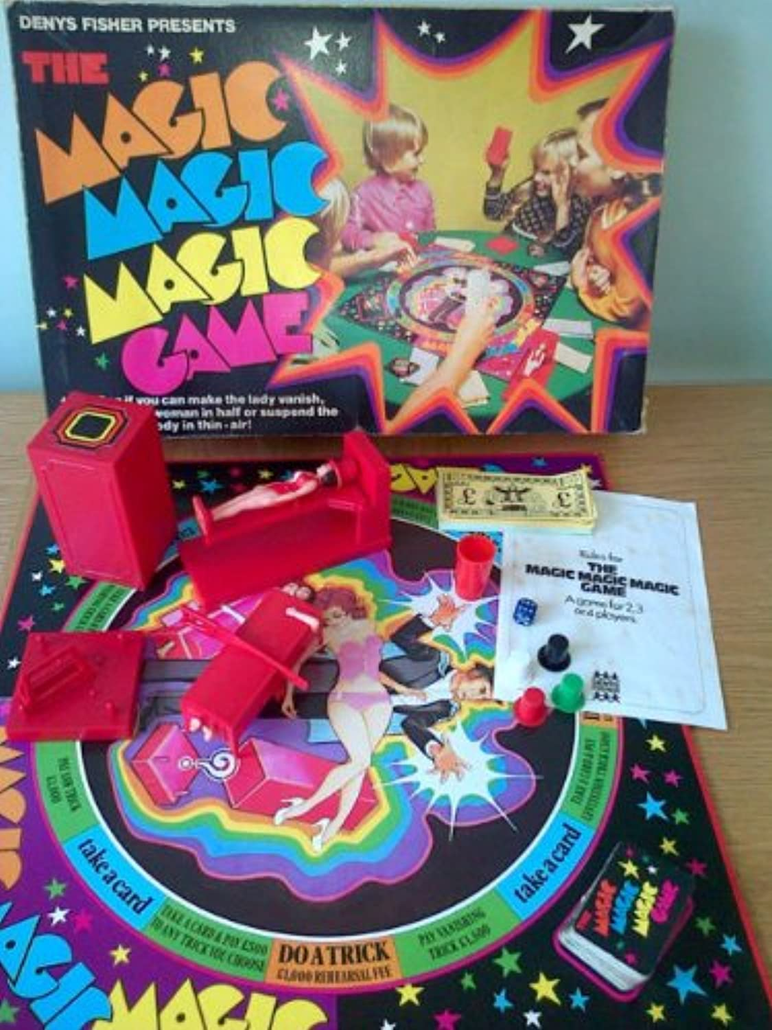 The MAGIC MAGIC MAGIC GAME. VINTAGE 1970's Board Game by DENYS FISHER. Great Magic Tricks