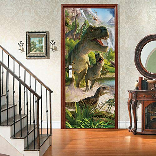 Türtapeten Selbstklebend 3D Riesiger Dinosaurier Türbilder Türposter Selbstklebend 3D Aufkleber Der Tür 3D Fototapete Tapete 77x200cm Pvc Wasserdicht Abnehmbare Wandgemälde Dekoration Aufkleber