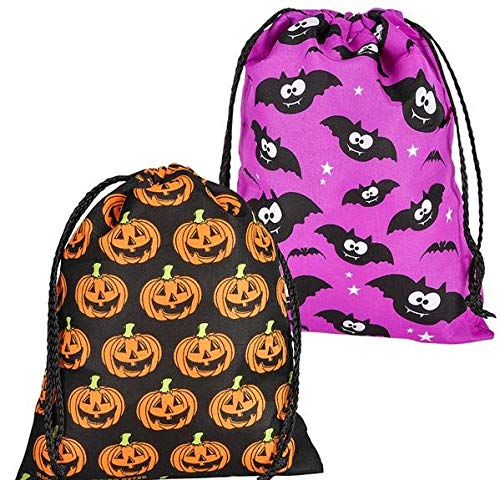 Rhode Island Novelty Large Assorted Halloween Drawstng TCK Or Treat Bags 12 Bags