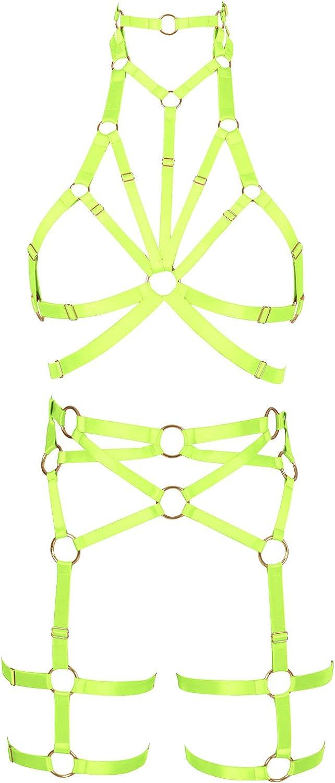 Garter belt set Lingerie cage Halloween Full body harness for women Punk Bra Festival Rave Plus size Gothic Chest strap