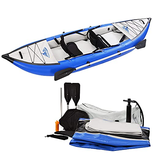 2-Person Portable Kayak,Inflatable Kayak with Air Pump & Paddle,Portable Water Sport Canoe,Tandem Kayak Set with Aluminum Oars Paddles Fishing Boat Canoe Raft Kayaks for Adults and Kids Youth