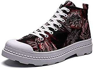 Fashion Shoes, Fashion Shoes Men Athletic Shoes for Casual Shoes Round Toe Lace Fabric High Top Lightweight Casual Comfortable Shoes, Breathable Shoes (Color : Red, Size : 8 UK)