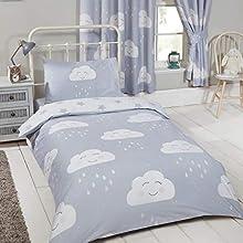 Price Right Home - Estrellas de nubes felices juego de funda nórdica y funda de almohada para niños pequeños - 120cm x 150cm / 42cm x 60cm