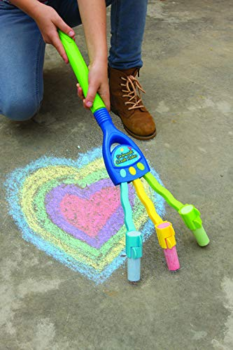 Kids Chalk Rake � Sidewalk Art Chalk Drawing Multiple Lines Tool Toy For Boys And Girls � Extended Handle With 3 Jumbo Oversize Chalks Photo #2