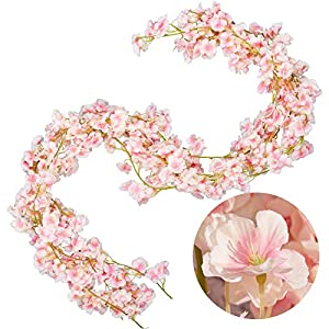 Whaline 4 Pack Artificial Cherry Blossom Garland Pink Silk Floral Vine 5.9ft Faux Cherry Blossom Flower String Fake Flower Hanging Garland for Home Wedding Indoor Outdoor Fireplace Wall Decoration