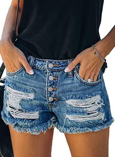 Modasua Damen Jeans Shorts Denim Hosen Kurz Lochjeans Sommer Beiläufige High Waist Zerrissenes Hotpants Jeans Boyfriend Gewaschene Distressed Löcher Shorts