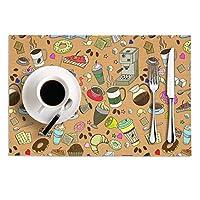 ランチョンマット プレースマット テーブルマット 食卓 マット キッチン 撥水 防汚 耐熱 おしゃれ 軽量 北欧 「コーヒー タイム ドーナツ ピンク ケーキ 食物」 2枚セット 丸洗い PVC製 ホワイト