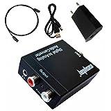 easyday Audio Convertitore Digitale (Toslink Optical ottica e coassiale) ad analogico (RCA)–Digital to Analog Audio Converter con adattatore AC e toslink cavo jack da 3,5mm uscita