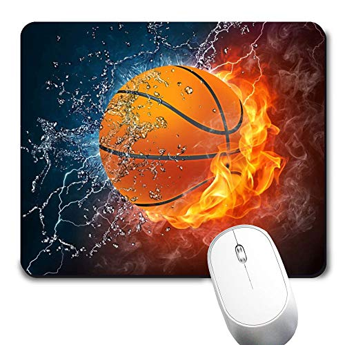 Yaxazepluy - Water Fire Basketball Mouse Pad, Gaming Rectangle Mousepad for Computer Laptop Non-Slip Rubber Desk Mat,Cute Office Gift (9.5 X 7.9 Inch)