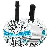 Life is Better at The Lake - Juego de etiquetas para maleta de piel personalizada, accesorios de viaje, etiquetas redondas para equipaje Negro Negro 4 PCS