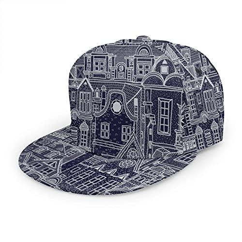 QQIAEJIA Old Town Hat Berretto da Baseball Arte Astratta Città Edificio Vintage Roof Doodle Street House Regolabile Flat Snapback Cappelli Cappello a Sfera Cappello Sportivo per Uomini e Donne