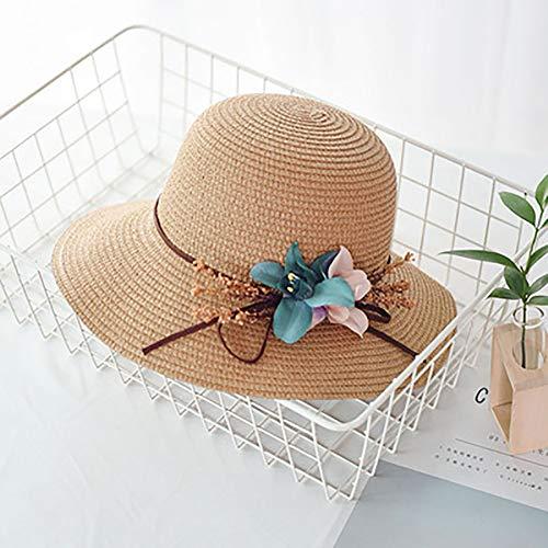 ZHIPENG Sombrero para El Sol, Protección Solar Plegable Lateral Ancho, Ajustable, Material De Paja, Protección UV, Fácil De Caminar Al Aire Libre En El Parque - Adecuado para Regalos De Damas,Khaki