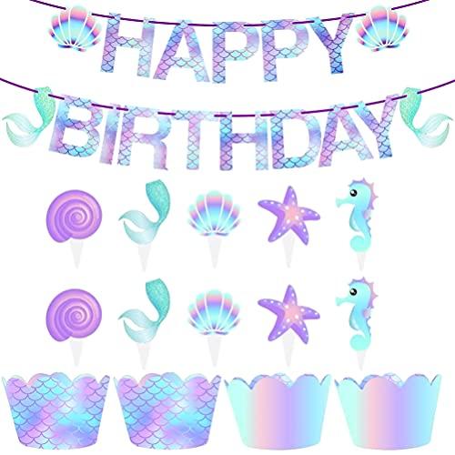 TOYANDONA Suministros de Fiesta de Sirena 1 Pancarta de Feliz Cumpleaños de Sirena con 50 Envoltorios de Cupcake de Sirena Y Toppers para Niñas Bajo El Mar