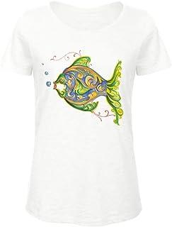 T-shirt Donna Manica Corta Estiva Elegante Camicia Divertente Stampata con Pesce Taglie Forti per Ragazza Simpatica Stile ...