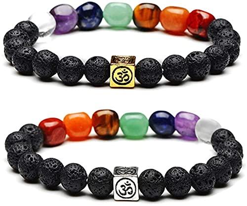 ZKZKK Pulsera de la Riqueza Feng Shui 7 Chakra Lava Roca Piedra Esencial Aceite difusor Pulsera Yoga meditación Chakra Pulsera Puede traer Suerte y Prosperidad