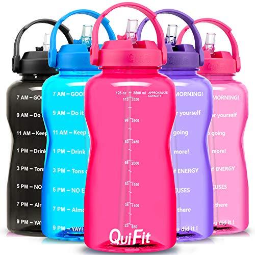 QuiFit Botella de agua sin BPA, 3,8 L/2 L, con pajita impresa, con asa para beber, tamaño XL, para fitness, gimnasio, deporte, de plástico, color rosa, 3,8 L