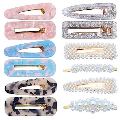 YMHPRIDE 12 unidades de resina acrílica perla pinzas para el cabello pasadores para las mujeres de las mujeres geométricas perlas Clips Barrettes accesorios para el cabello