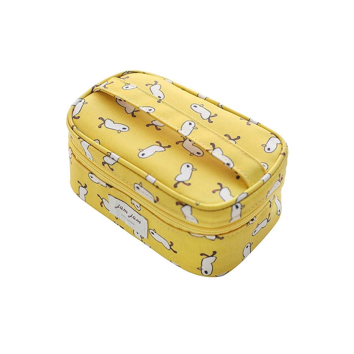 語仕様させる[LIVEWORK] JAMJAM makeup pouch (duck) ジェムジェムメイクポーチ(あひる) ブラッシュ メイクアップ イエロー 黄色