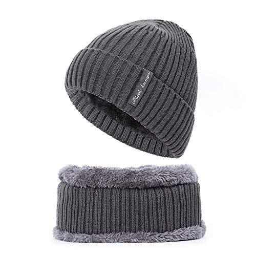 WMNU Winter Beanie Hat Unisex Gorro de Punto cálido y Cuello cálido Bufanda Circular, Conjuntos de Sombreros Deportivos al Aire Libre