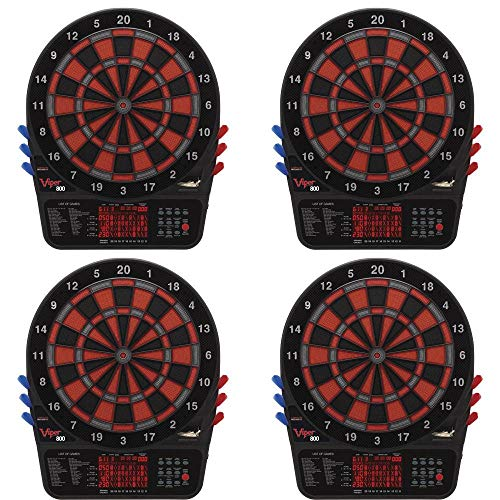 New Viper 800 Electronic Soft Tip Dartboard Set with Darts for Game Room (4 Pack)
