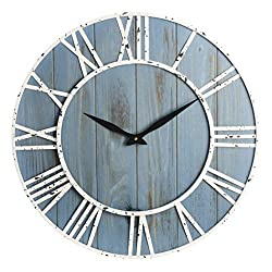 23.5-Inch Rustic Metal & Wood Silent Non-Ticking Decorative Wall Clock with Large Roman Numerals
