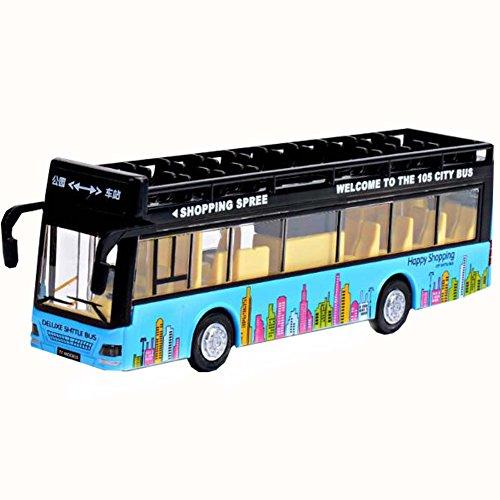 Black Temptation Blue Toy Sightseeing Bus avec des Effets de lumière et de Son Enfants Toy Car
