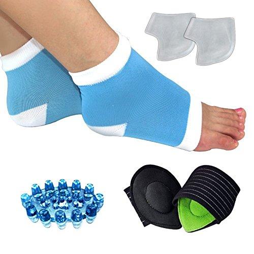Kit de fascitis plantar de 7 piezas: masajeador de pies, calcetines, tobillera, soporte de talón, soporte para el dolor de metatarso, soporte del arco del pie. Alivia el dolor de pies
