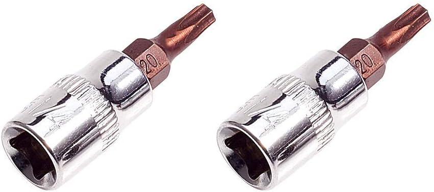 S2 Steel 2Pcs 1//4-Inch Drive T30 Torx Bit Socket