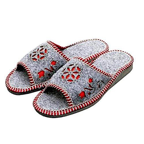 Damen Hausschuhe dekorative Blumenmotiv grau rot plus Größe Schuhe Innen oder Frühling Sommer Peeptoes Sandalen