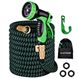 Garden Hose Expandable, Vansware 100FT Flexible Water Hose 10 Function Spray Nozzle Solid Brass Fittings On/Off Valve Leakproof Lightweight Extra Strength Fabric Expanding Hose for Watering/Washing